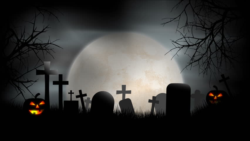 A creepy graveyard halloween background scene with graves, evil pumpkins and spooky moonlit sky.