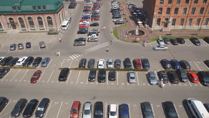 Car parking near business center in Moscow, Russia.   - HD stock footage clip