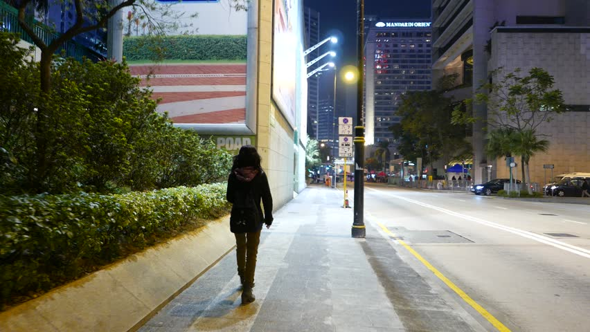Hong Kong February 10 2015 Pov Walk Follow Four Schoolgirls With Teacher Walk Through Hong
