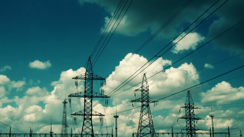 electric high voltage pylon against sky - HD stock footage clip