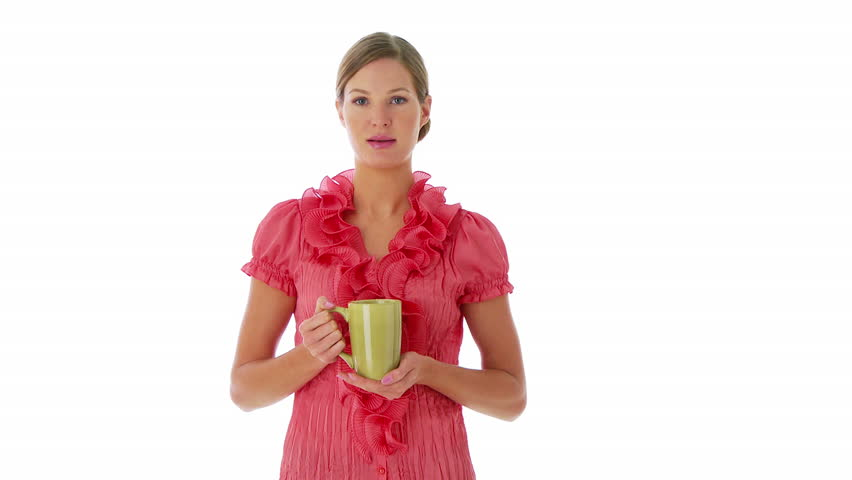 Portrait of woman standing and sipping coffee - HD stock footage clip