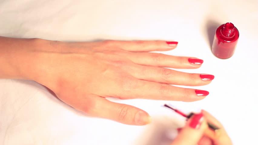 Nail polish, red lacquer,video clip. - HD stock video clip