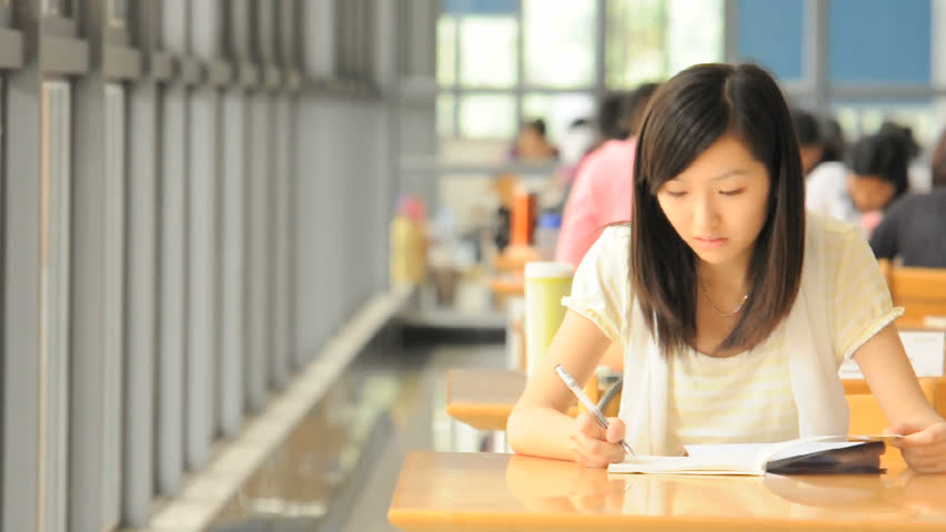 studying girl. - HD stock footage clip