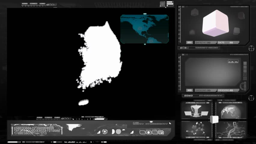 South Korea scanned by software - HD stock video clip