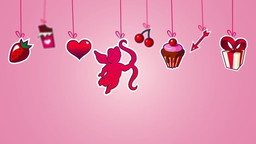 Motion pink background  for valentines day. fall labels as symbols Valentine day.  - HD stock video clip