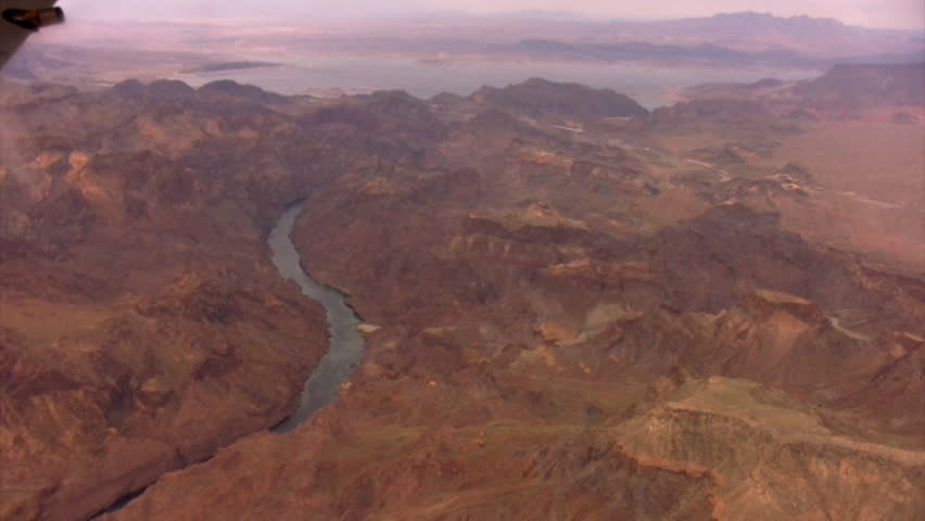 Grand Canyon Aerial 28 Hoover Dam and Lake Mead Arizona Nevada USA - HD stock video clip