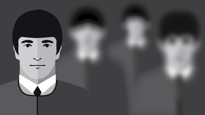 DECEMBER 28 2015: Illustrative Editorial. Animation of The Beatles illustrated in black and white. The camera focuses on one Beatle at a time: John Lennon, Paul McCartney, George Harrison and Ringo Starr.