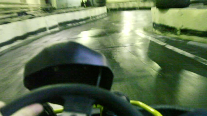 Ride on race track for karting, first-person view  - HD stock video clip