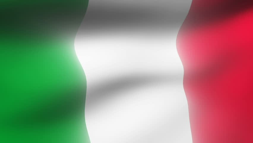Close-up flag of Italy ripples in a breeze. - HD stock footage clip