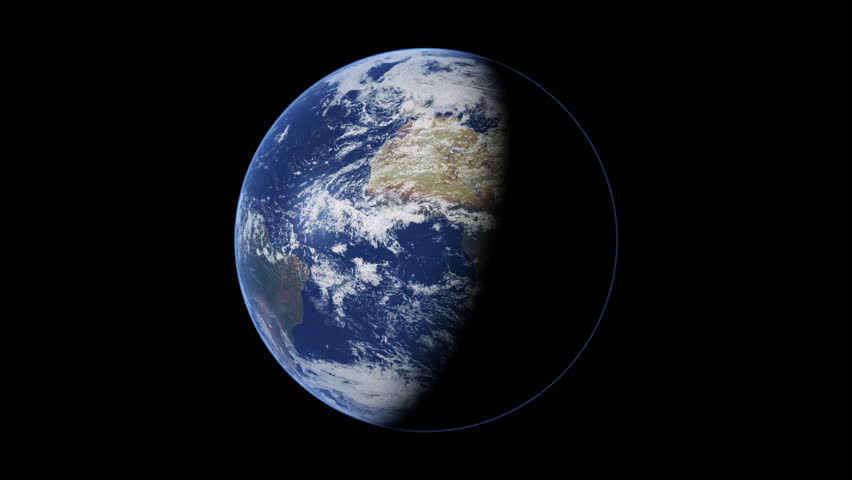 The Planet Earth Rotating Half In Shadow Stock Footage