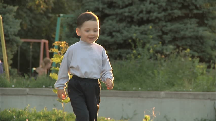 little boy runs to her mother 1 - HD stock footage clip