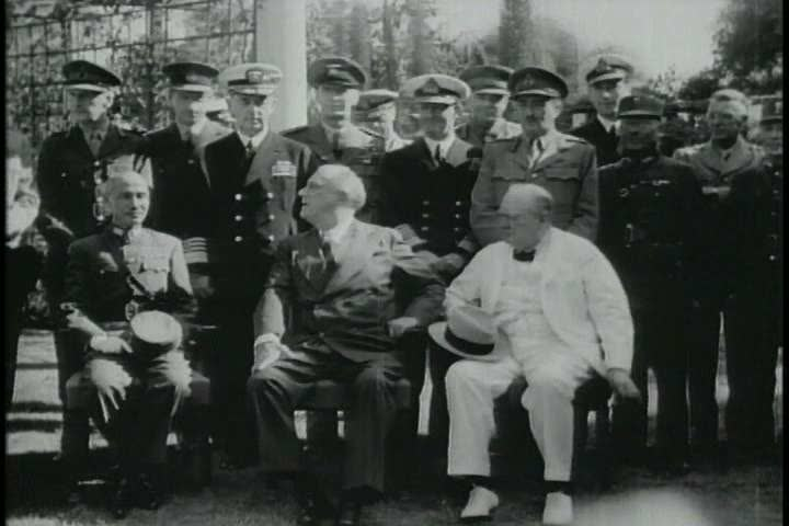 CIRCA 1950s - Roosevelt and Churchill meet with Stalin in the winter of 1943 to decide the battle in Normandy.