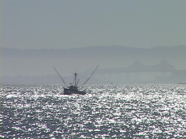 A commercial fishing boat travels on sparkling water. - SD stock video clip