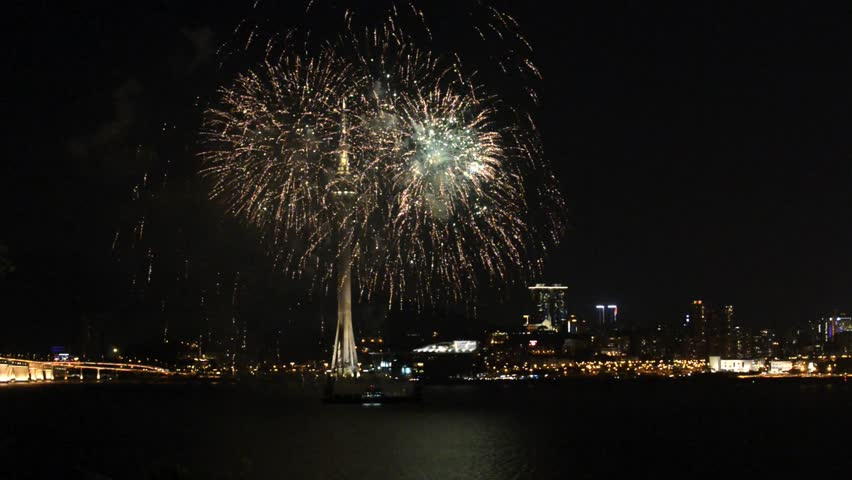 MACAU, CHINA - SEPTEMBER 14, 2013: View the fireworks show with the Macau city at the background in Macau, China. International Fireworks contest in Macau is one of the most famous in the world.