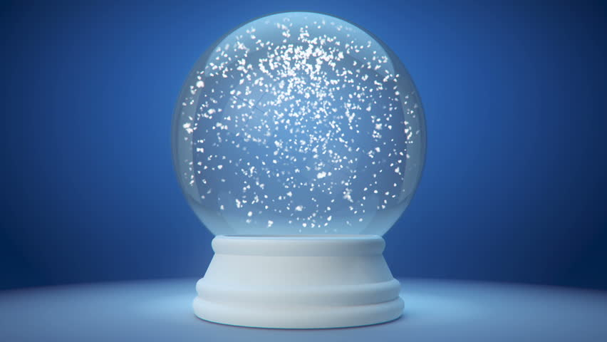 snowglobe animation on a blue gradient background - HD stock video clip