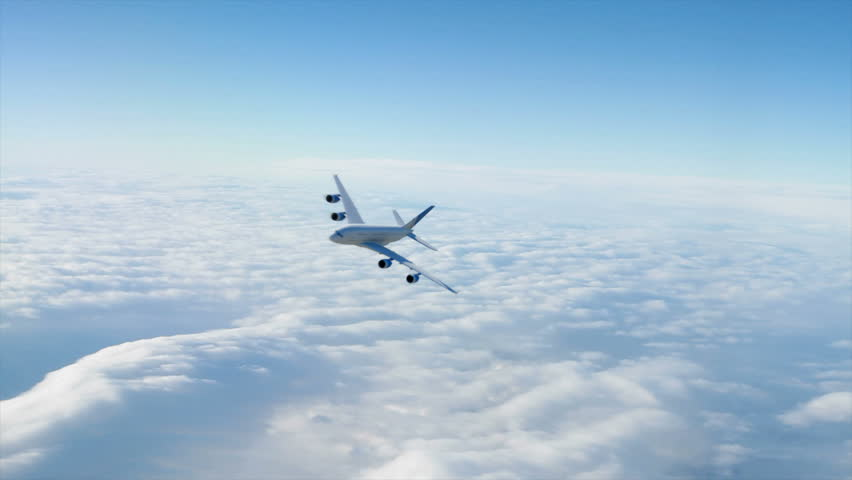 An Airbus 380 flying at cruising altitude banking towards the viewer.  (High quality 3d animation) - HD stock video clip