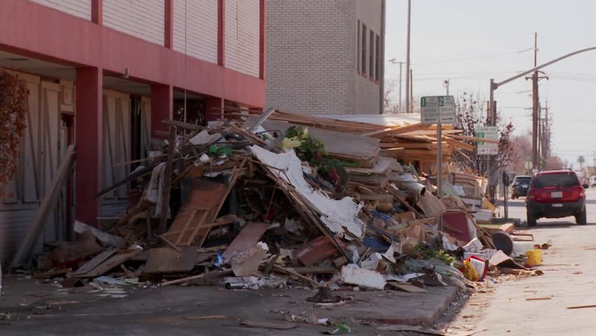 Junk is piled up in the wake of the devastation of Hurricane Ike in Galveston,  Texas.