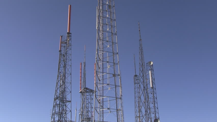 Vertical pan from bottom to top emphasizing height of radio tower atop Mount Wilson.