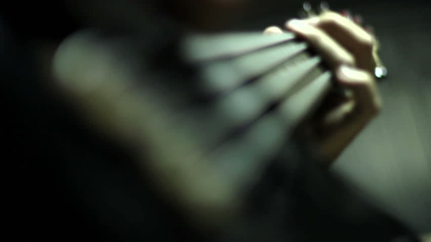 Man playing electrical bass guitar - HD stock video clip