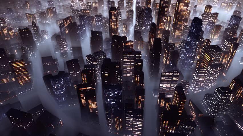 3d flight over big city at night. Loop.