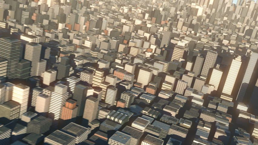aerial view of 3d city buildings and skyscrapers - high quality 3d animation