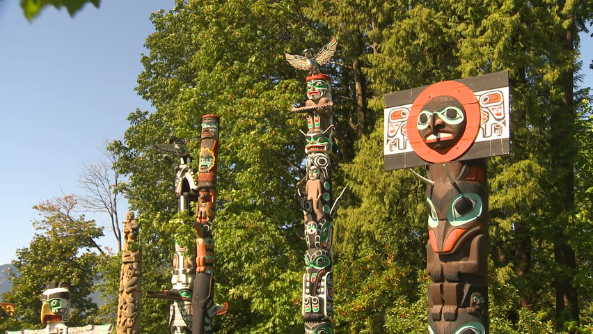 Totem poles, montage - HD stock footage clip