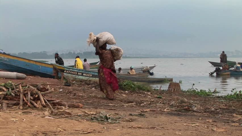 LAKE VICTORIA, UGANDA - CIRCA 2009: A heavily laden woman carries large parcels to a fishing boat circa 2009 on the shores of Lake Victoria. - HD stock footage clip