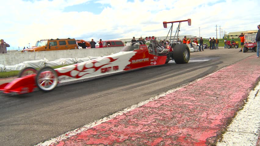 Motor sports, Drag Race, dragster burnout  - HD stock video clip