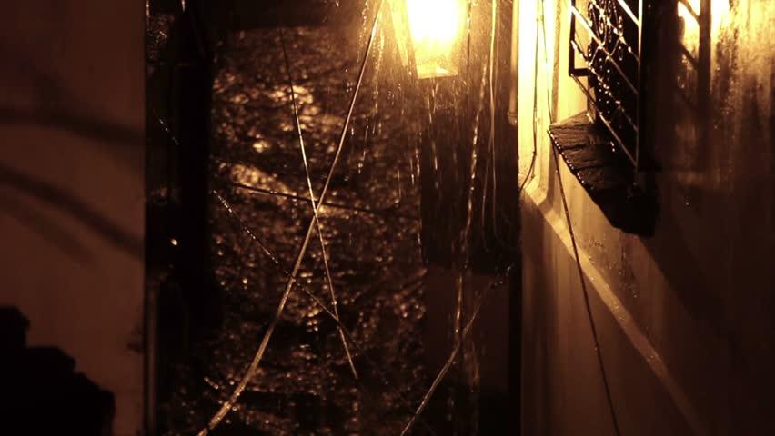 Rain over lantern in Mexico Alley