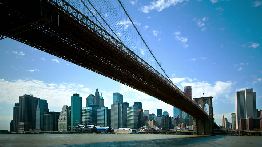 Timelapse view of New York City from under the Brooklyn Bridge