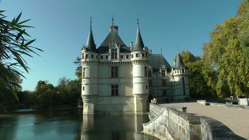 Azay-le-Rideau castle, Loire Valley, France. This castle was built in the XVIth century on an island among the Indre river - HD stock video clip