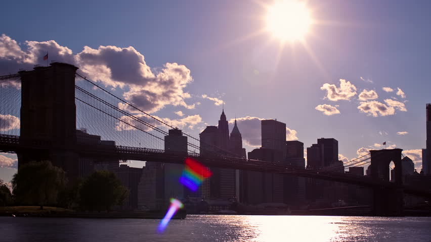 New York City sunset with Brooklyn Bridge - HD stock footage clip