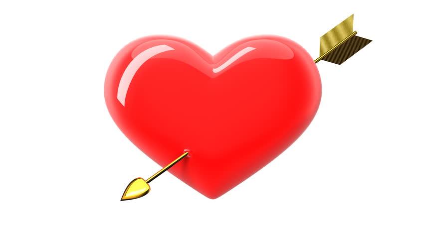 Heart and Arrow. HD 1080. Alpha mask. - HD stock video clip