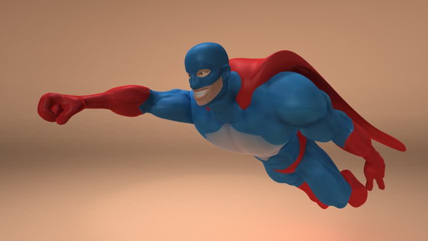 Superhero with alpha channel - HD stock video clip