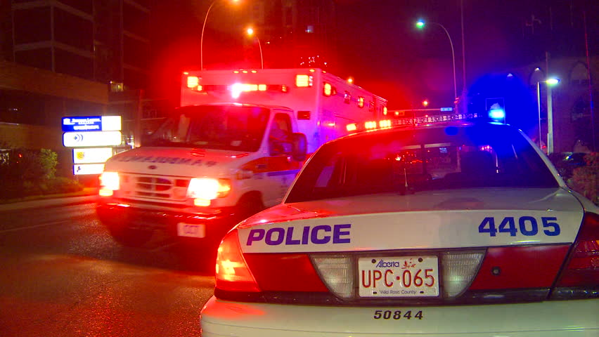 CALGARY, CANADA - AUGUST 6, 2010: police and ambulance on August 6, 2010 in Calgary, Canada