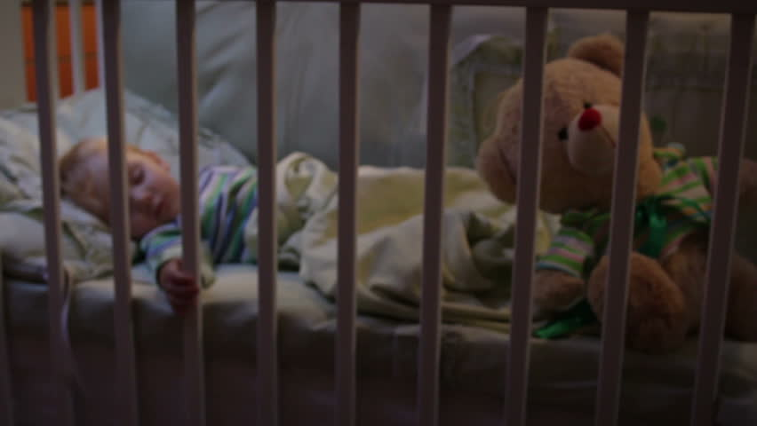 baby boy sleeping, camera dolly - HD stock video clip