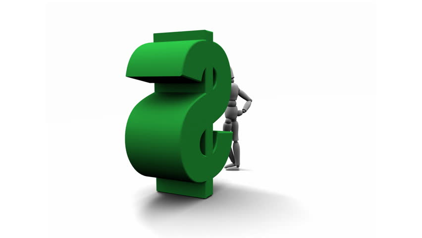Person Leaning Against Green $ Dollar - HD stock video clip