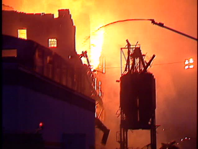 Major fire, six-story feed mill, building collapse