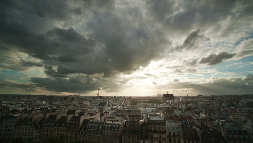 Timelapse of clouds over Paris rooftops