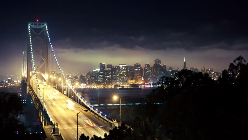 Bay Bridge at night in san francisco