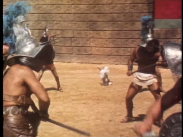 Gladiators fighting in arena