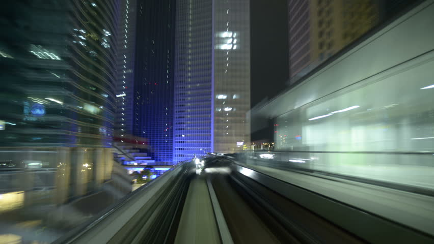 TOKYO Time-lapse View, POV tram travels through the city.