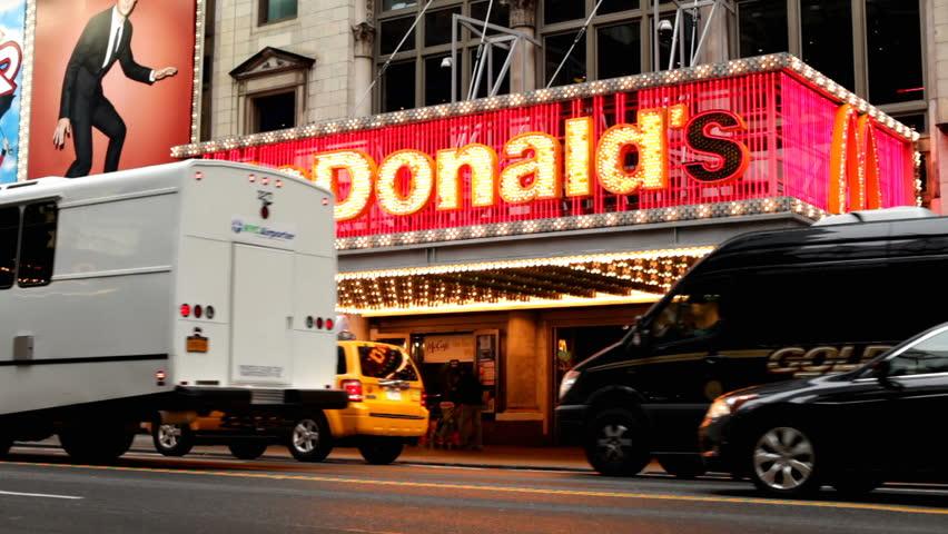NEW YORK CITY, NY - NOVEMBER 24: McDonald's in New York City Street on Thanksgiving November 24, 2011 in New York City, New York. - HD stock footage clip
