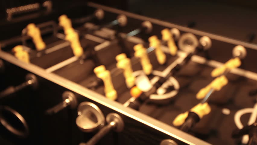 Foosball Table Game In Dark Room Slide Into Rack Focus To