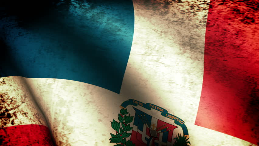 Dominican Republic Flag Waving, grunge look
