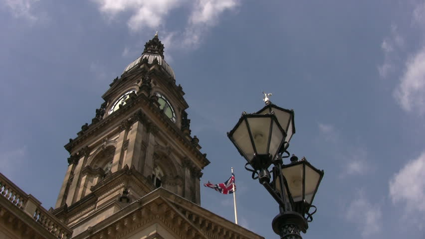 Bolton Town Hall and old style street lamp, low angle viewpoint. - HD stock video clip
