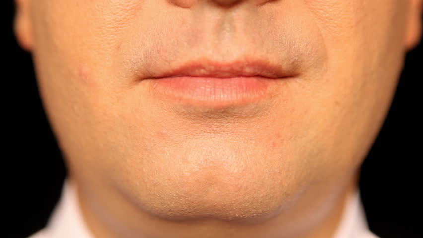 Businessmans mouth talking - Face - Lip - Extreme Close-Up - Front View - Full HD