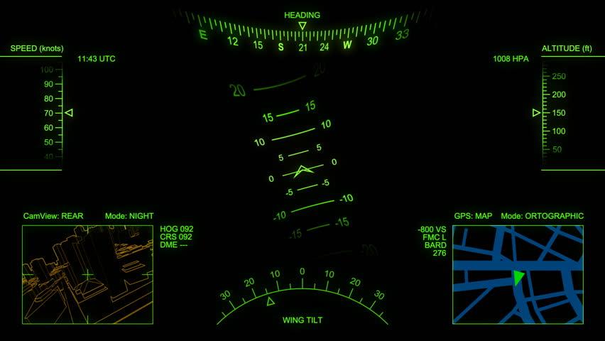 Animated head-up display (electronic airplane cockpit). Loop.