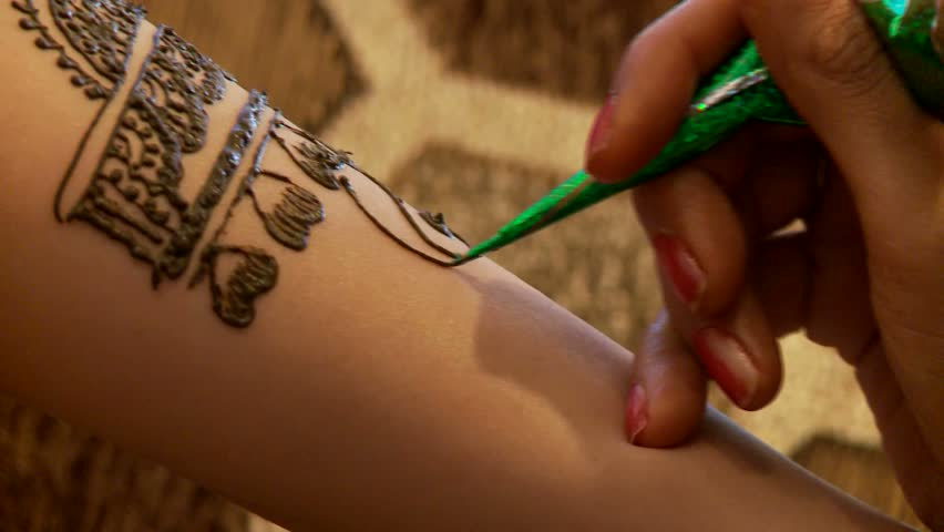 Henna tattooing - HD stock video clip