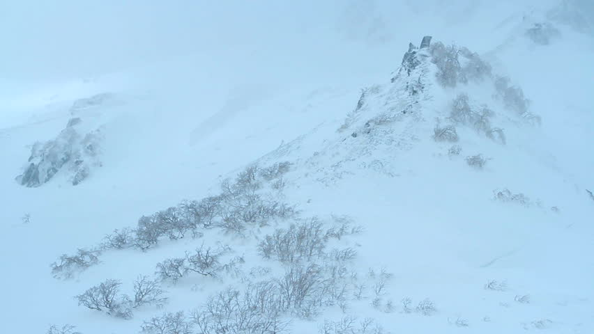 Winter blizzard in the  Mountains, Time Lapse.